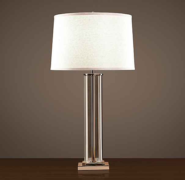 French Column Glass Table Lamp Polished Nickel