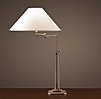 French Column Glass Swing-Arm Table Lamp Polished Nickel