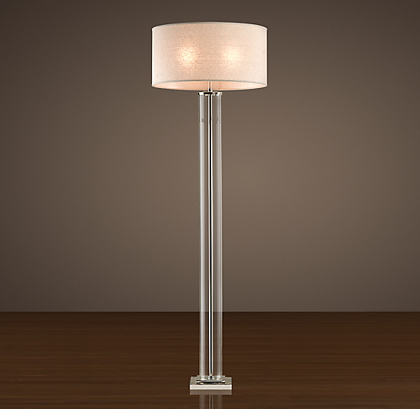 French Column Glass Floor Lamp Polished Nickel | Crystal ...