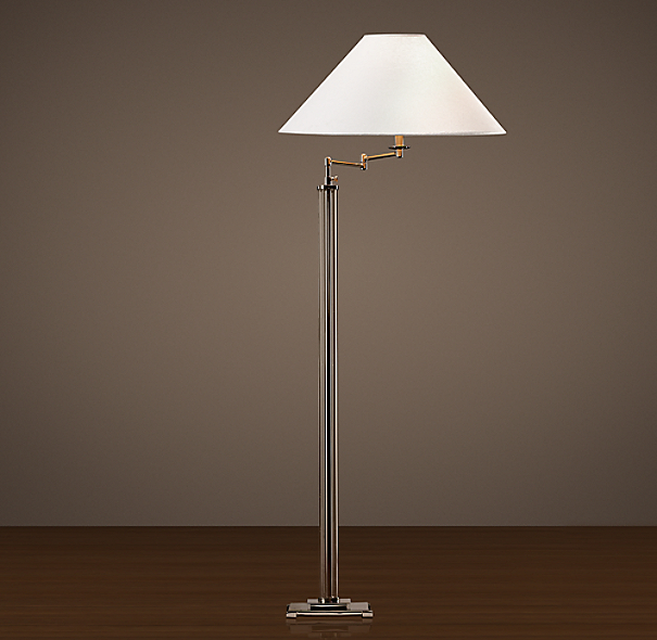 French Column Glass Swing-Arm Floor Lamp Polished Nickel