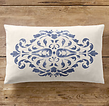 Floral Scroll Print Pillow Cover Lumbar