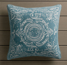 Perennials® Côte d&#39Azur French Tile Pillow Cover Peacock