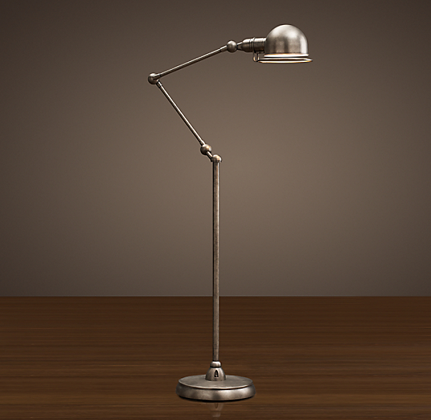 Atelier Task Floor Lamp Patina Nickel