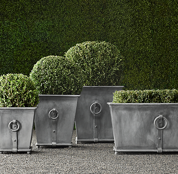 Estate Zinc Ring Square Planters