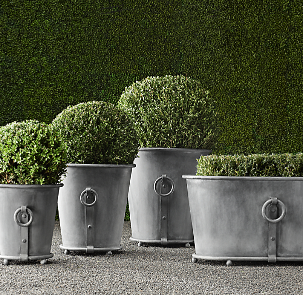 Estate Zinc Ring Round Planters