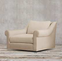 Belgian Roll Arm Upholstered Swivel Chair