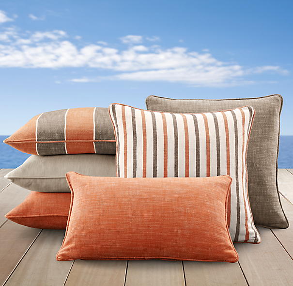 Perennials® Côte d&#39Azur Stripe Pillow Cover Collection Clementine