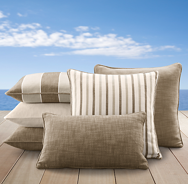 Perennials® Côte d&#39Azur Stripe Pillow Cover Collection Mocha