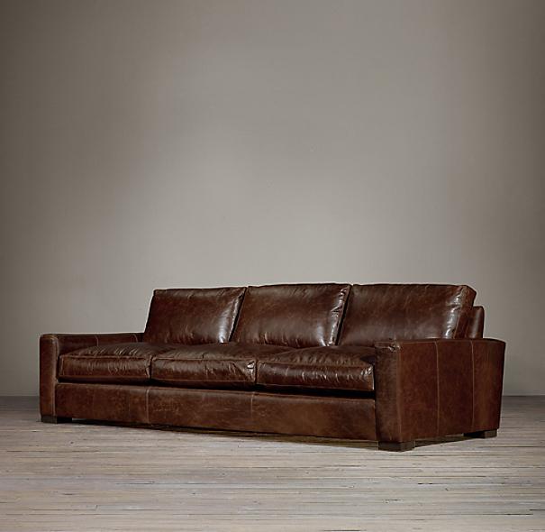maxwell leather three seat cushion sofa