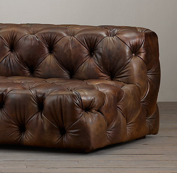 7' Soho Tufted Leather Armless Sofa