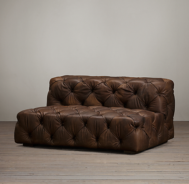 5' Soho Tufted Leather Armless Sofa