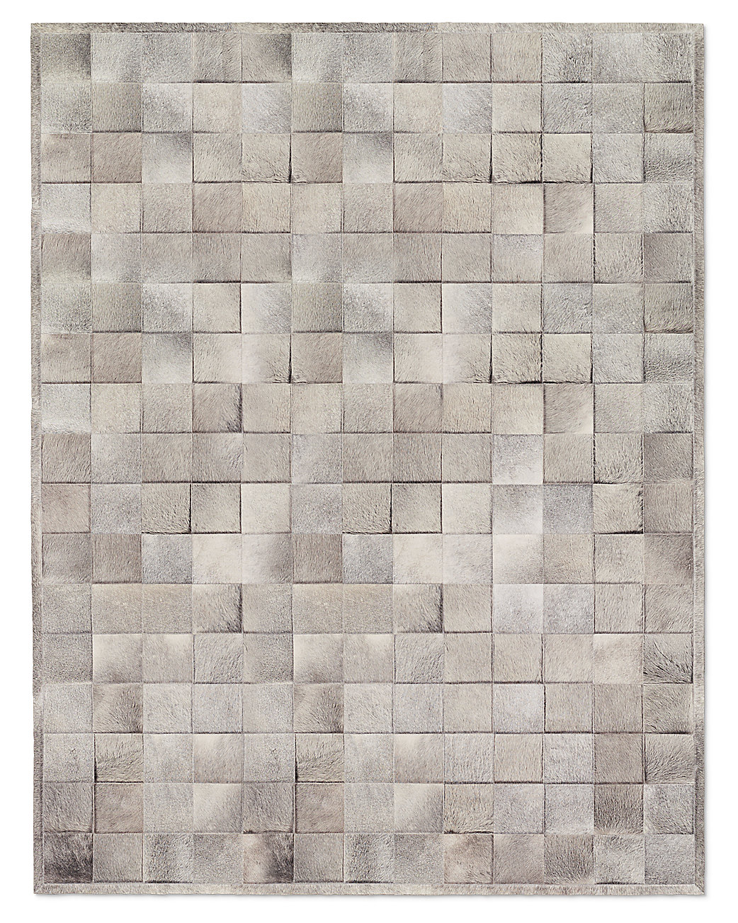 South American Cowhide Tile Rug Grey