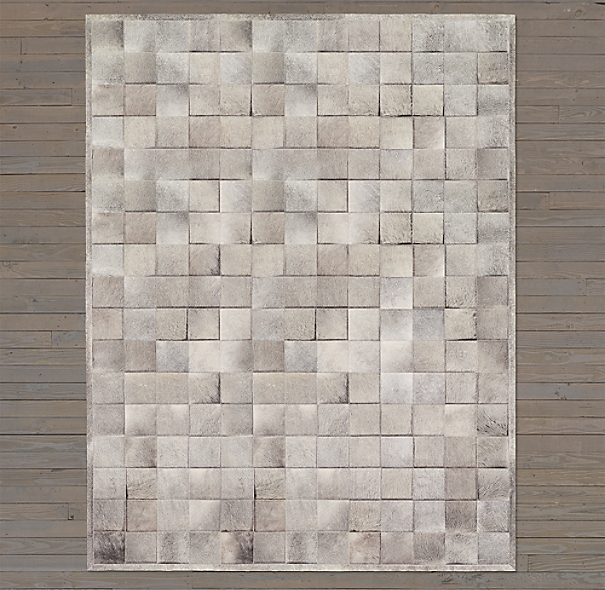 Argentine Cowhide Tile Rug Swatch - Grey