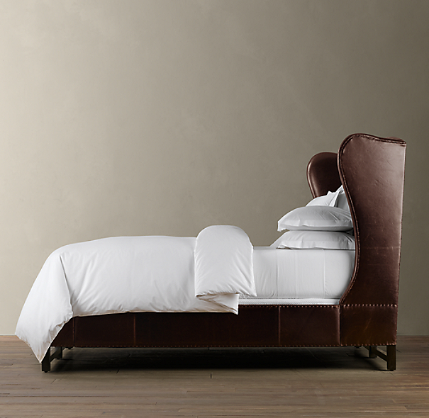 French Wing Leather Bed Without Footboard