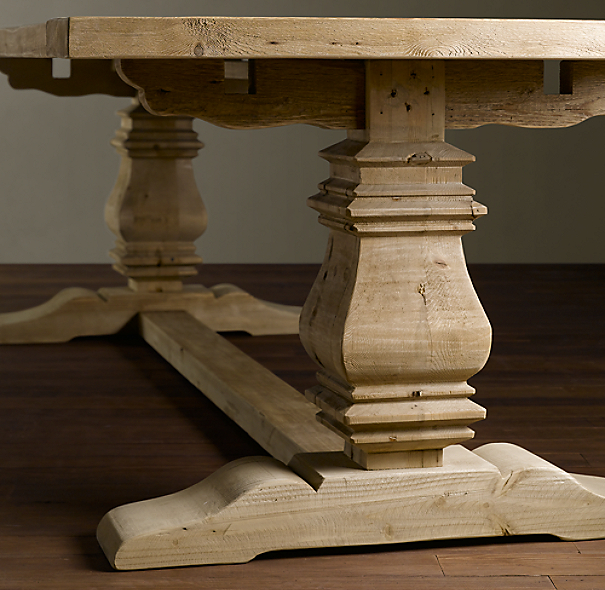 Trestle Salvaged Wood Fixed Dining Table
