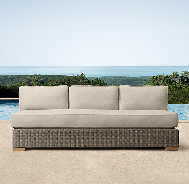 "75"" Biscayne Luxe Three-Seat Armless Sofa Cushions"