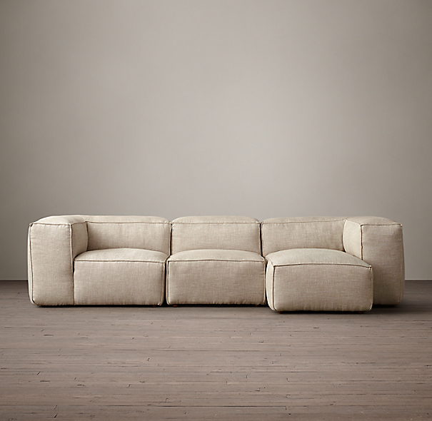 Fulham Upholstered Right-Arm Sofa Chaise Sectional