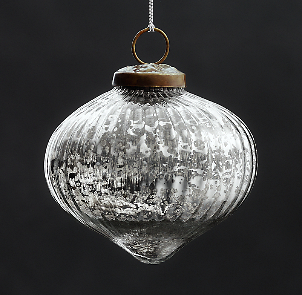 Vintage Hand-Blown Glass Ornament Ribbed Onion - Silver