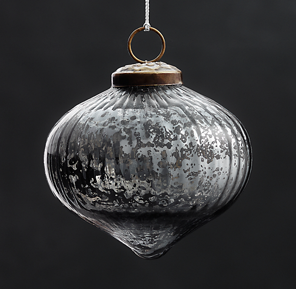 Vintage Hand-Blown Glass Ornament Ribbed Onion - Smoke