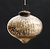 Vintage Hand-Blown Glass Ornament Ribbed Onion - Gold