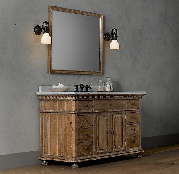 St. James Extra-Wide Single Vanity Sink Antiqued Natural