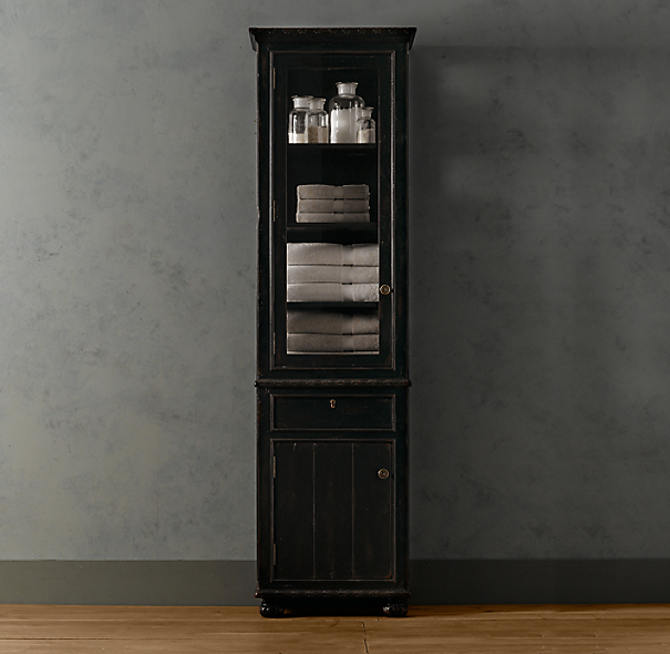 French Empire Tall Bath Cabinet Antique Black