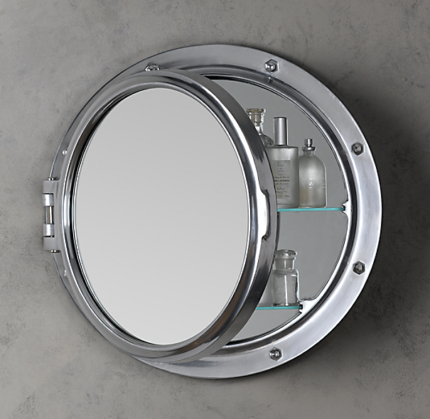 Royal naval porthole mirrored medicine cabinet for Restoration hardware round mirror