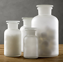 Frosted Glass Pharmacy Bottles Set of 3