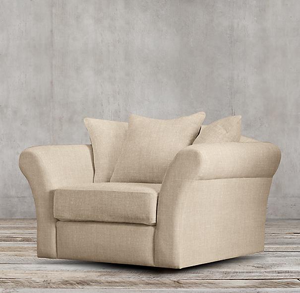 Camelback Upholstered Swivel Chair