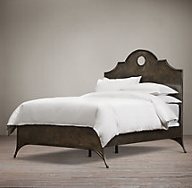 19th C. Keyhole Metal Arch Bed without Footboard