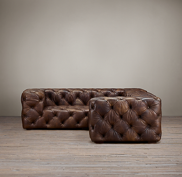 Soho Tufted Leather Corner Sectional