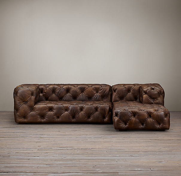 Soho Tufted Leather Right Arm Sofa Chaise