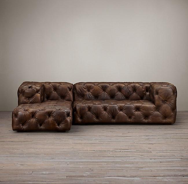 Preconfigured Soho Tufted Leather Left Arm Sofa Chaise