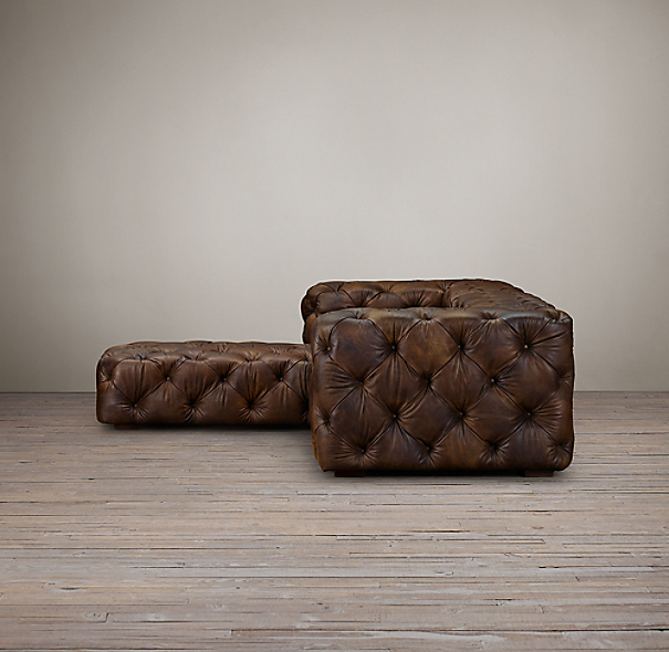 Soho Tufted Leather Left Arm Sofa Chaise