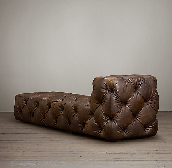 Soho Tufted Leather Armless Chaise