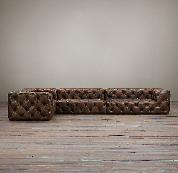 Soho Tufted Leather Left-Arm L-Sectional