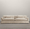Belgian Slope Arm Slipcovered Two Cushion Sofas