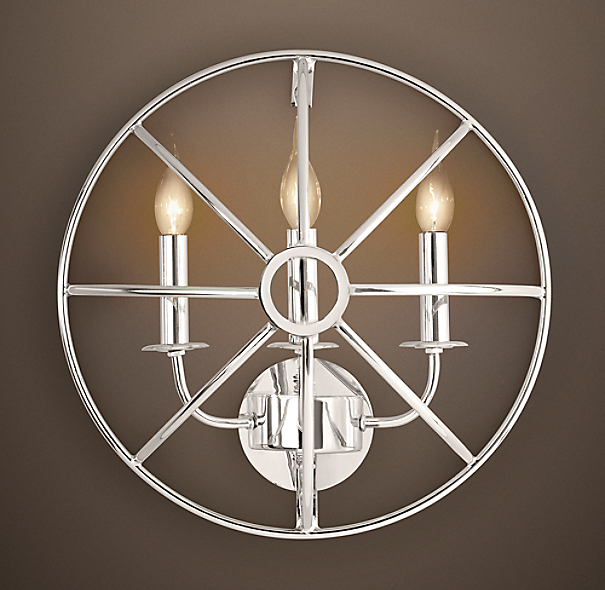 Foucault's Iron Orb Sconce Polished Nickel