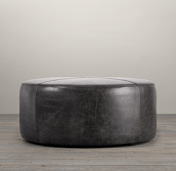 36 Quot Cooper Leather Round Ottoman
