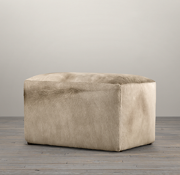 "30"" Cooper Hair on Hide Rectangular Ottoman"