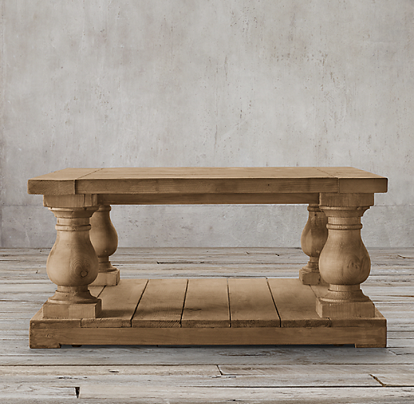 Restoration Hardware Reclaimed Teak Coffee Table: Balustrade Salvaged Wood Square Coffee Table