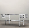 "74"" French Factory Metal Desk Polished Chrome"