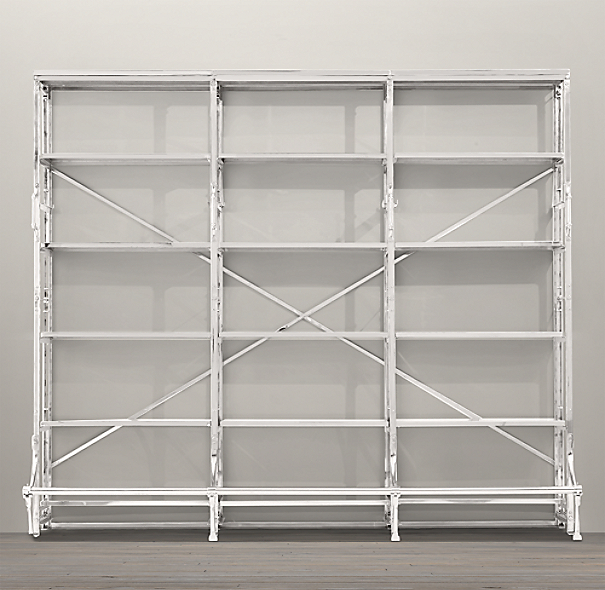 "108"" French Library Shelving Polished Stainless Steel"