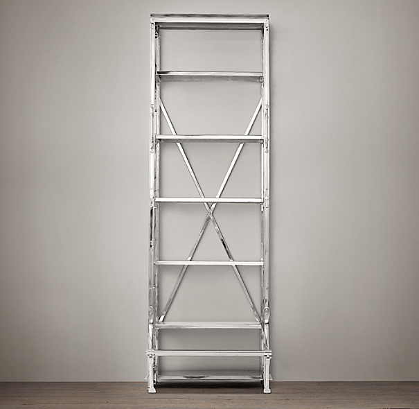 "30"" French Library Shelving Polished Stainless Steel"