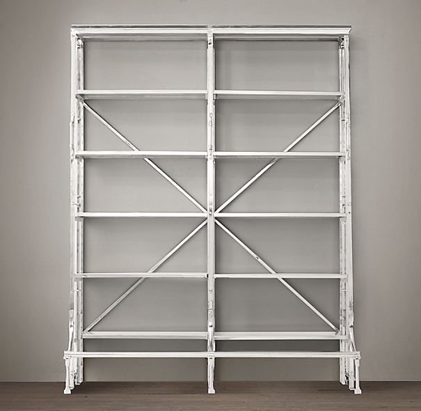 "72"" French Library Shelving Polished Stainless Steel"