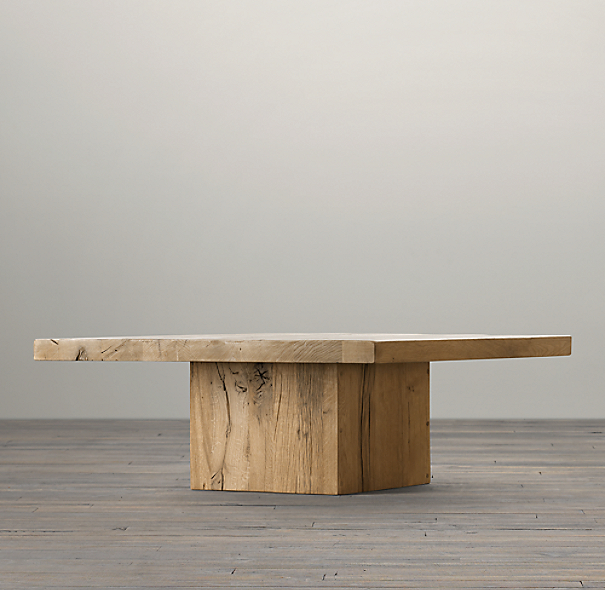 "36"" Reclaimed Russian Oak Plinth Coffee Table"