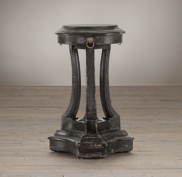 18th C. Lion'S Head Side Table Black