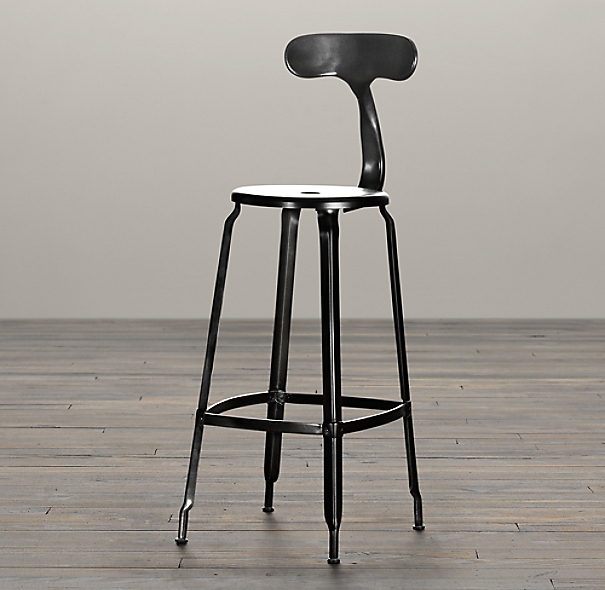 French T Back Counter Stool Matte Black