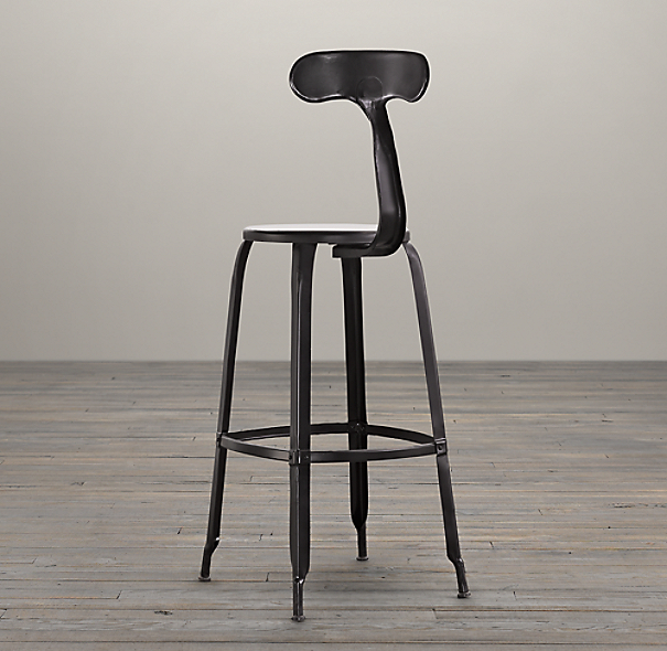 French T Back Barstool Matte Black
