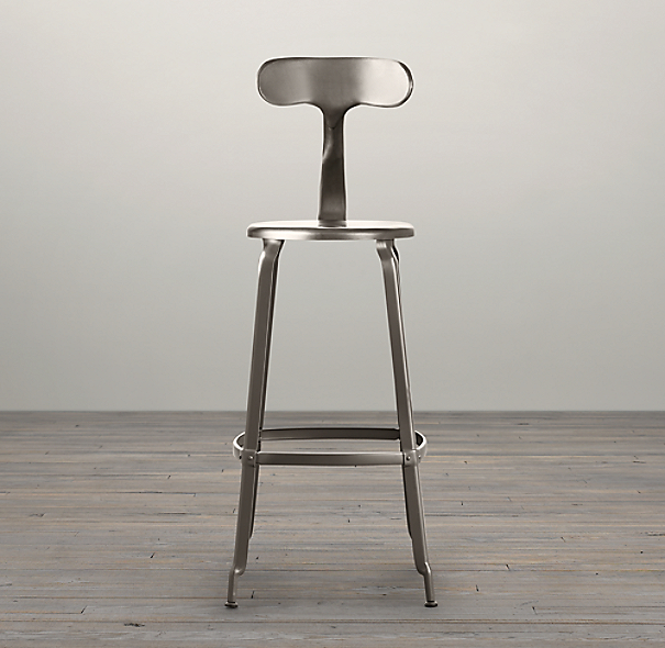French T Back Barstool Gun Metal